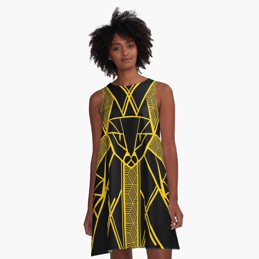 Black and Gold - Version 2 A-Line Dress