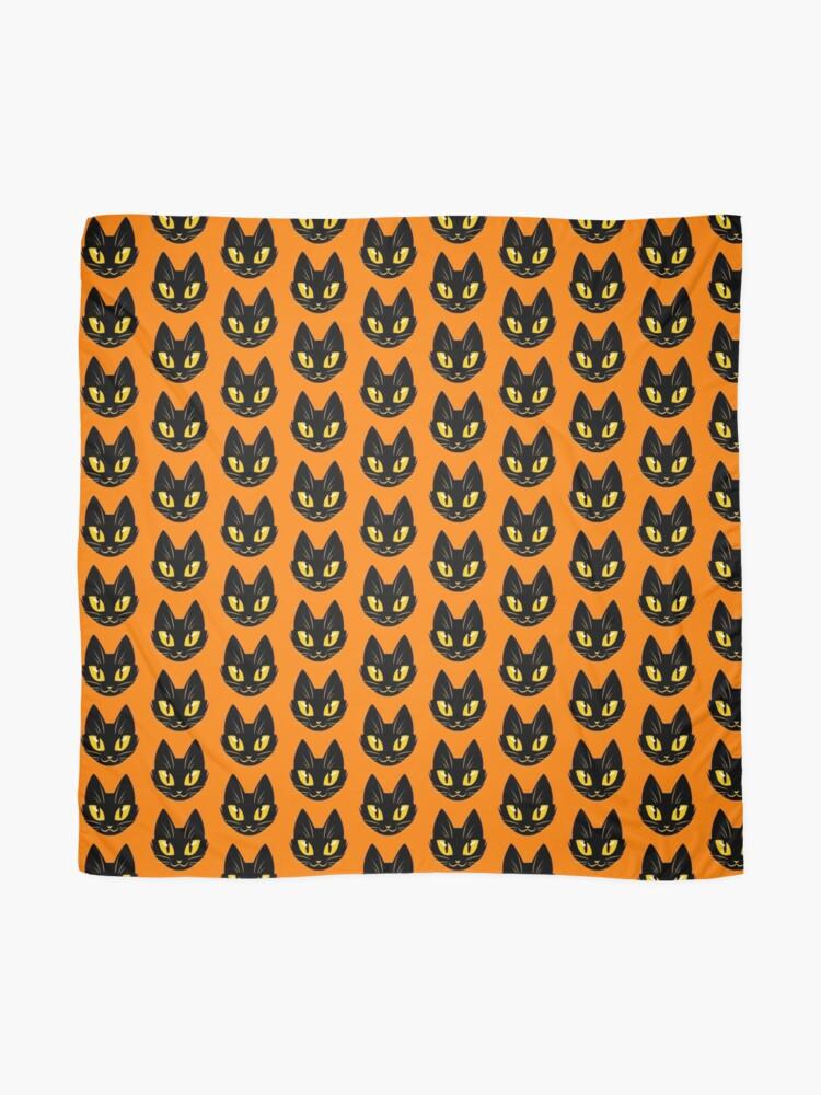 Alternate view of Little Black Cat (orange version) Scarf