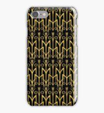 Elegantes schwarz-goldenes Art Deco Muster iPhone Case/Skin