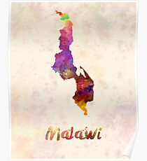 Malawi in watercolor Poster