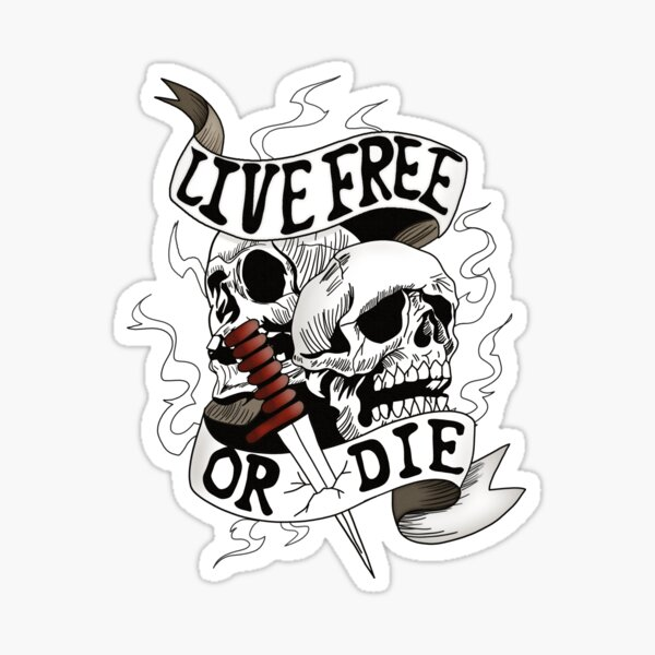 Live free or die skull motorcycle lovers style design  Sticker