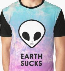 Earth Sucks Cute Funny Pastel Ombre Grunge Space Alien Turquoise Purple Galaxy  Graphic T-Shirt