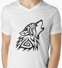 Camiseta para hombre de cuello en v Aullido de lobo tribal