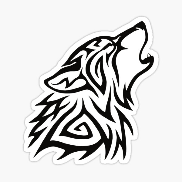 Tribal Wolf Howl Sticker