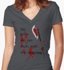 Badass Schoolgirl Women's Fitted V-Neck T-Shirt