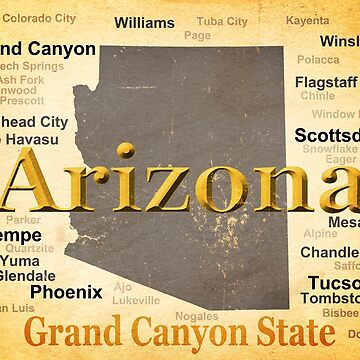 Aged Arizona State Pride Map by KWJphotoart