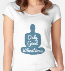 Meditation Human silhouette isolated on white background Women's Fitted Scoop T-Shirt