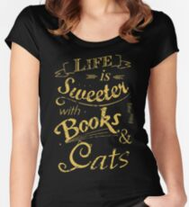life is sweeter with books & cats #2 Women's Fitted Scoop T-Shirt