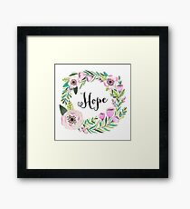 Hope Lettering Watercolor Ilustration Framed Print