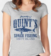 Quints Shark Fishing Amity Island Women's Fitted Scoop T-Shirt