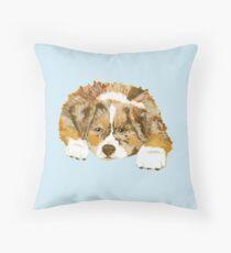 Red Merle Australian Shepherd Puppy Throw Pillow