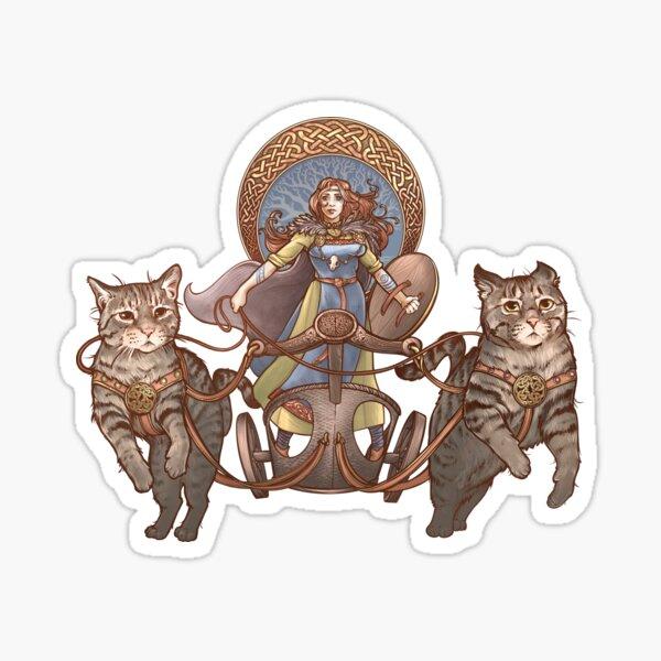 Freya conduisant son char de chat Sticker