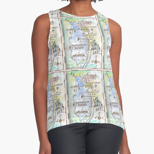 Swallows and Amazons map of Derwentwater by Sophie Neville -  Sleeveless Top
