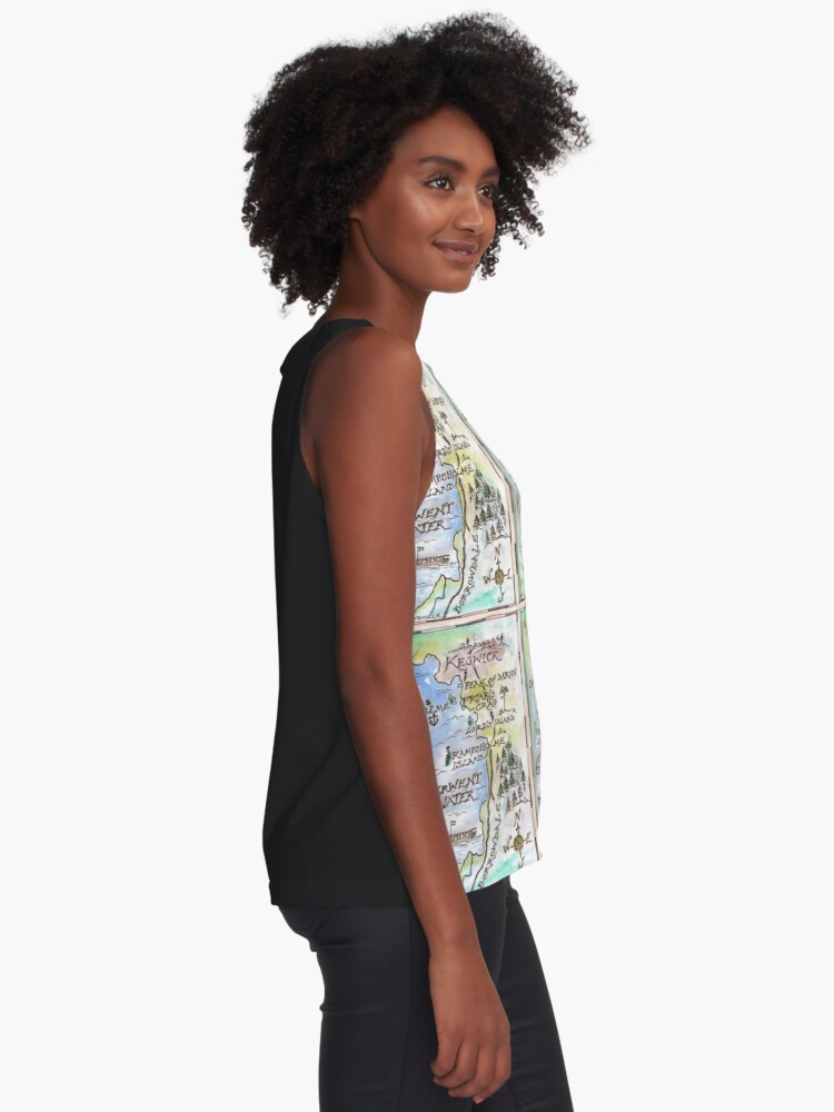 Alternate view of Swallows and Amazons map of Derwentwater by Sophie Neville -  Sleeveless Top