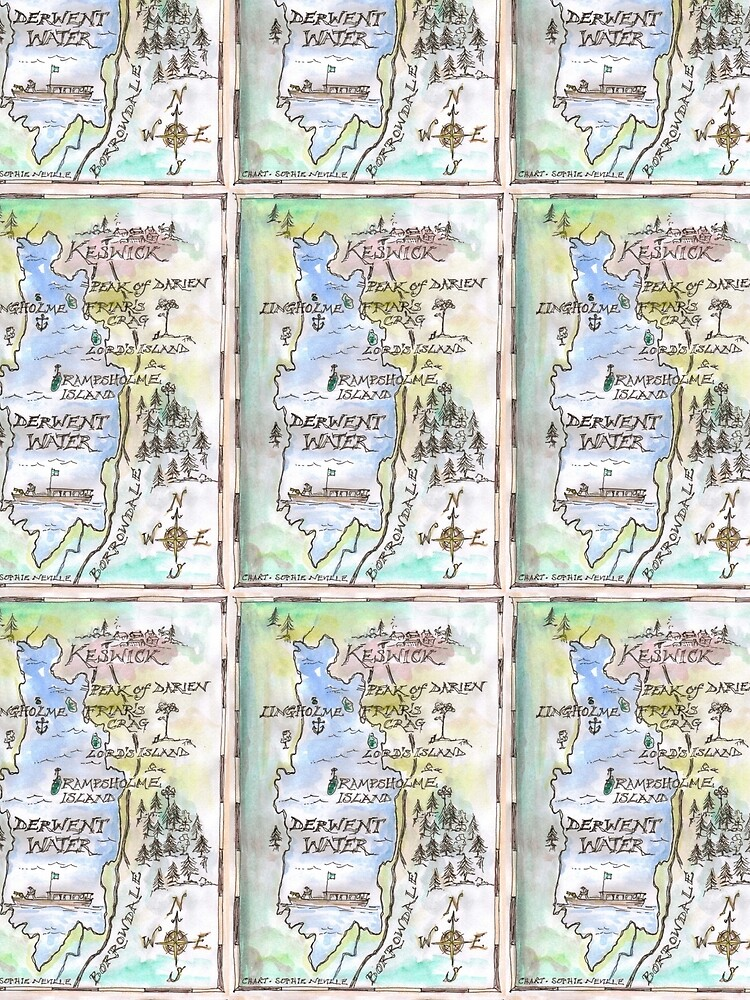 Swallows and Amazons map of Derwentwater by Sophie Neville -  by SophieNeville