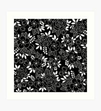 Rosalie Black Drawing with Ink Art Print