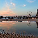 Autumn sunset over Central Pier Blackpool North West of England by Martin Lawrence