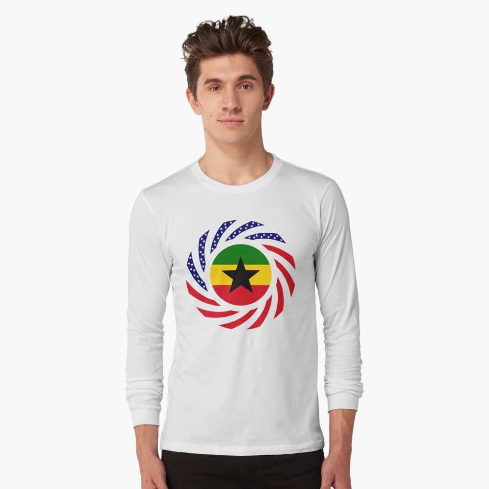 Ghanaian American Multinational Patriot Flag Series Long Sleeve T-Shirt