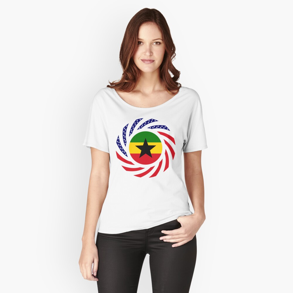 Ghanaian American Multinational Patriot Flag Series Relaxed Fit T-Shirt