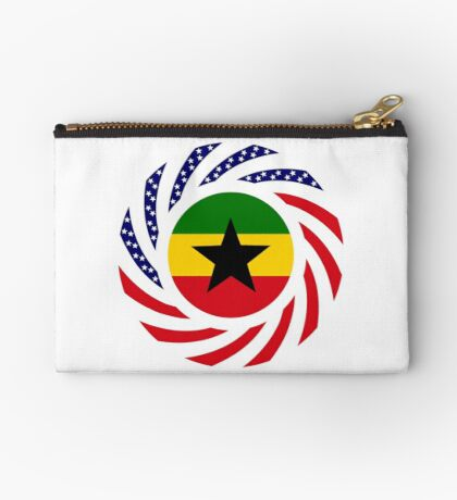 Ghanaian American Multinational Patriot Flag Series Zipper Pouch