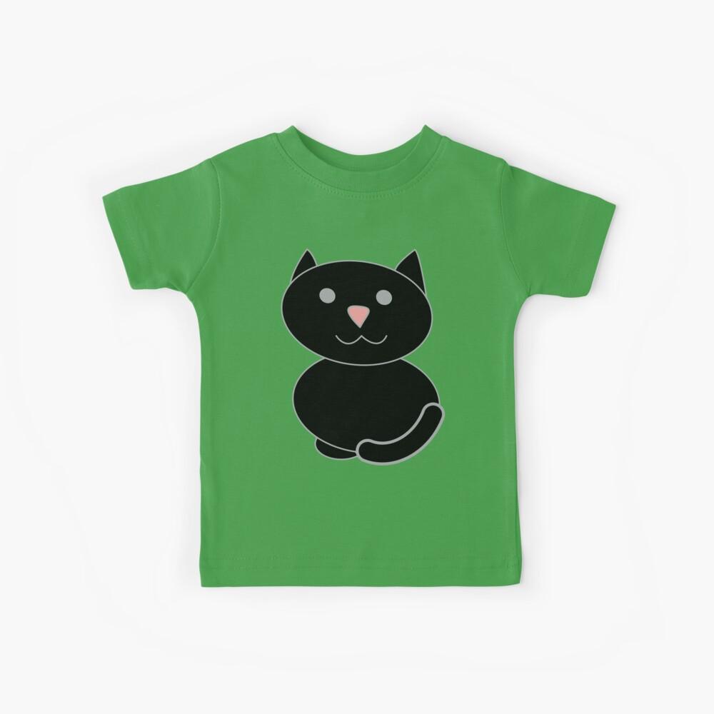 Black Kawaii Cat  Camiseta para niños