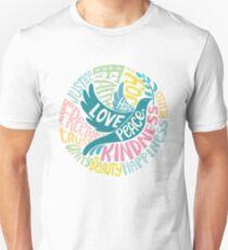 Dove of Peace Lettering Design T-Shirt