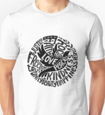 Dove of Peace Lettering Design in Black and White T-Shirt