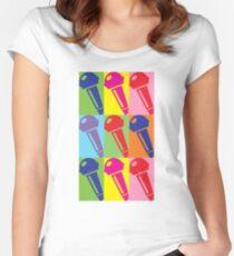 Pop Art Microphone Women's Fitted Scoop T-Shirt