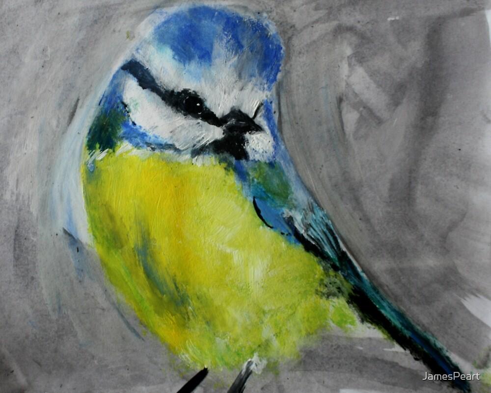 Wild English Garden Bird Blue Tit Contemporary Acrylic Painting by JamesPeart