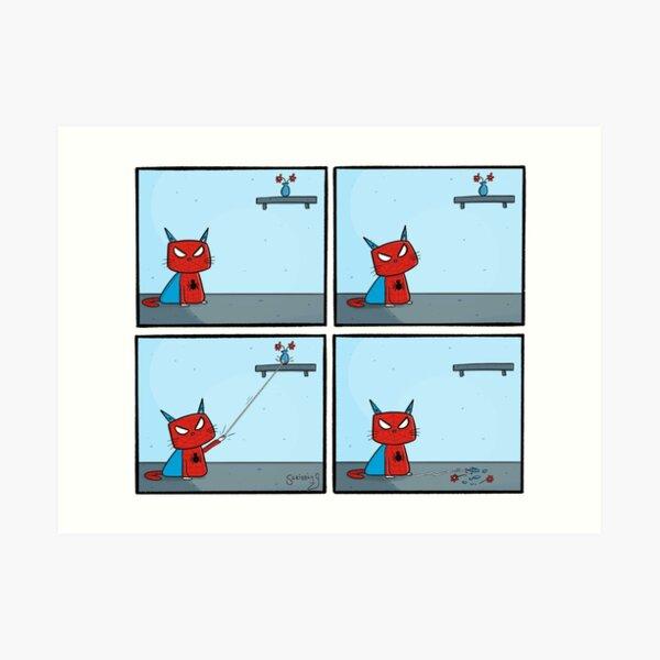 Spider-cat Comic Scribbly G Art Print