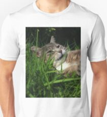 Tabby cat playing with toy mouse Unisex T-Shirt