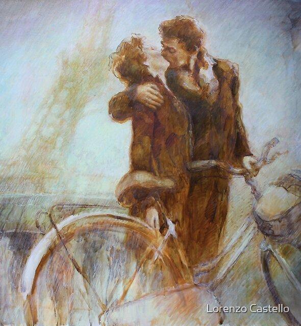 Kissing in Paris by Lorenzo Castello