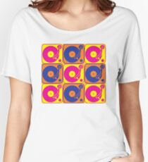 Vinyl Record Turntable Pop Art 3 Women's Relaxed Fit T-Shirt