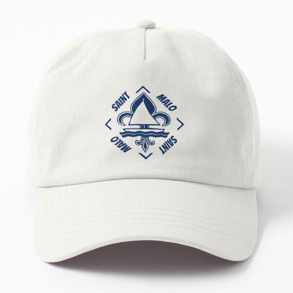 Saint Malo in Britanny Bretagne France - Navy Blue Vintage Sailor Logo - Sailing Boat with Heraldic Lily Dad Hat