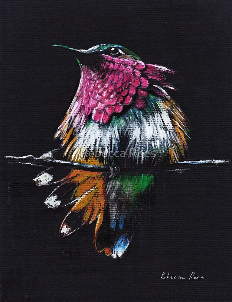 """""""Jewel""""  Amethyst-Throated Hummingbird mixed media painting by Rebecca Rees"""