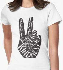 Peace Sign with words Peace, Love, Faith, Joy, Hope, Kindness, Unity Women's Fitted T-Shirt