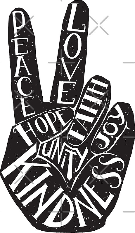 quotpeace sign with words peace love faith joy hope
