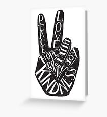 Peace Sign with words Peace, Love, Faith, Joy, Hope, Kindness, Unity Greeting Card