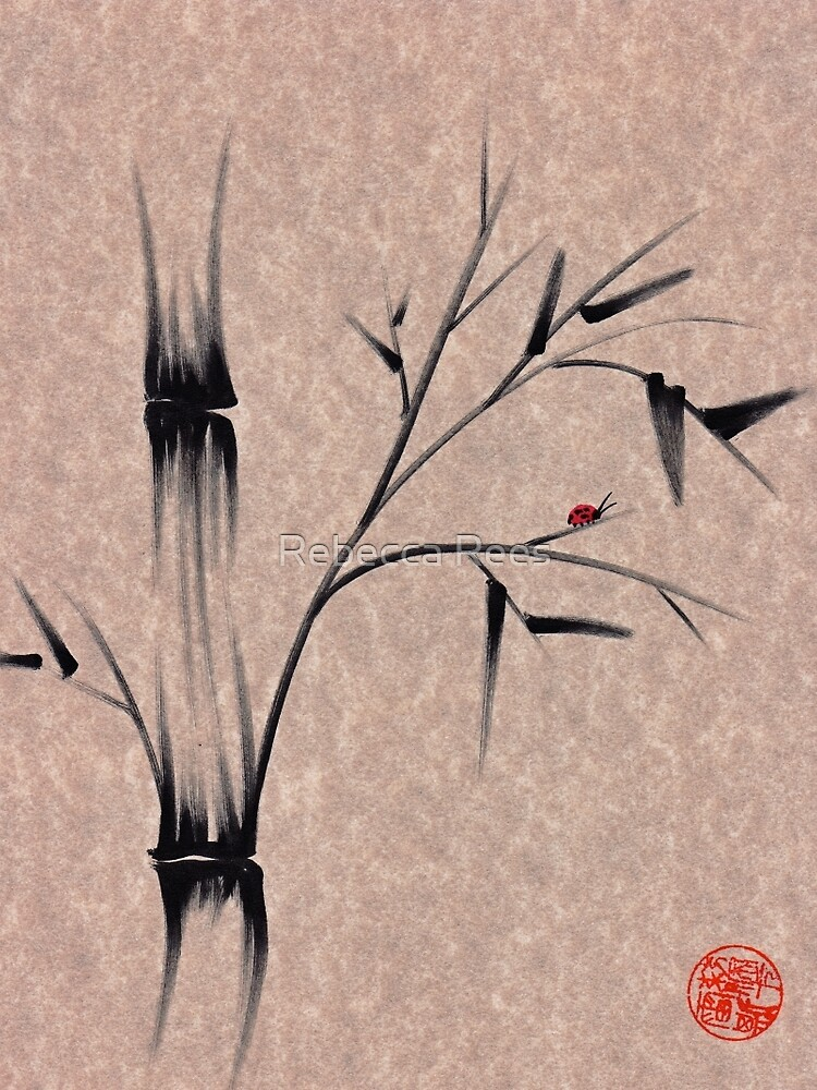The Ladybug Sleeps - india ink brush pen bamboo drawing by tranquilwaters