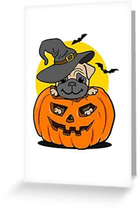 Funny halloween cartoon pug greeting cards by funfundev redbubble funny halloween cartoon pug m4hsunfo