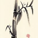 Silence - Sumie ink wash bamboo painting by Rebecca Rees