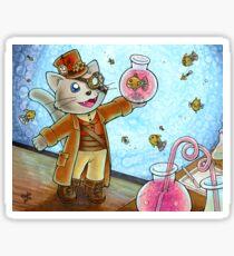 Steampunk Cat Glossy Sticker