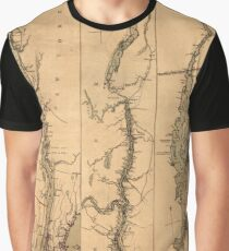 Map Of The Hudson River 1777 Graphic T-Shirt