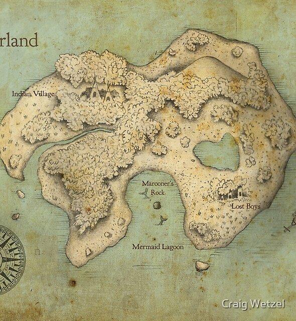 Peter Pan Neverland Map by Craig Wetzel