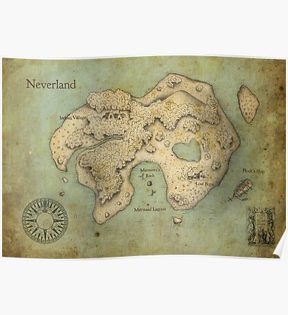 Peter Pan Neverland Map Poster