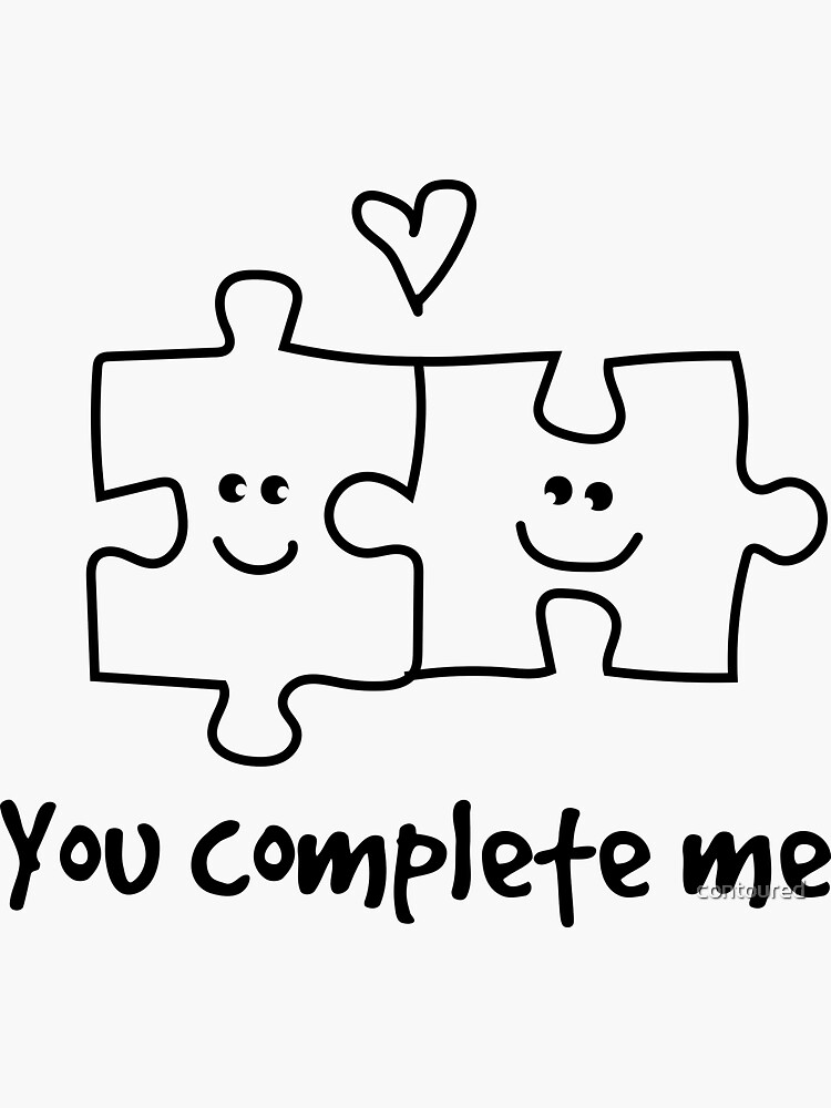 You complete me puzzle illustration by contoured