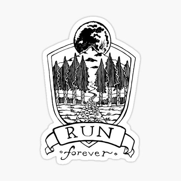 Run Forever - Moon Emblem  Sticker