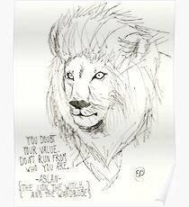 Aslan Original Pencil Art Poster