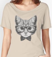 Cat with glasses and bow tie Women's Relaxed Fit T-Shirt