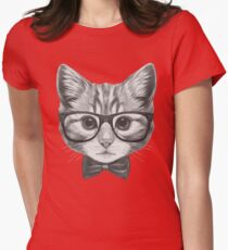Cat with glasses and bow tie Womens Fitted T-Shirt